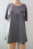 Chicolth Cat Face Grey Magic Loose T-shirt