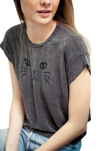 Chicolth Cat Face Grey Magic Loose T-shirt-Tops-Chicloth