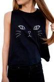 Chicolth Cute Cat Face White Vest