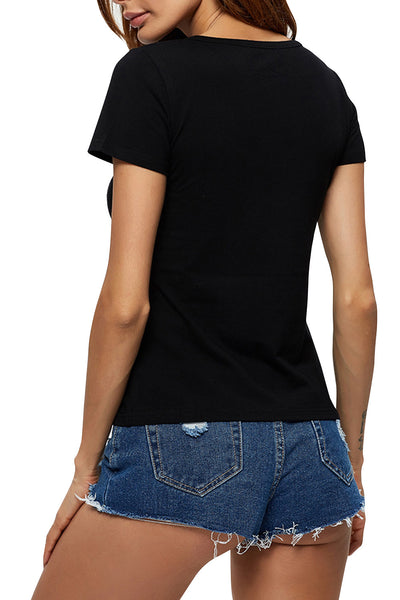 Chicolth Red Lips Black T-shirt-Tops-Chicloth