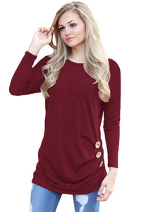 Chicloth Claret Buttoned Side Long Sleeve Spring Autumn Womens Top