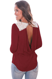 Chicloth Claret Lace Shoulder Low Cut Back Top