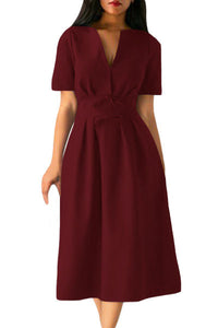 Chicloth Claret Split Neck Short Sleeve Midi Dress with Bowknots