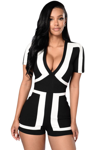Chicloth Classic Colorblock Solid Black Back Romper
