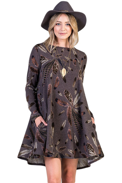 Chicloth Coffee Feather Graphic Pocket Tunic Dress