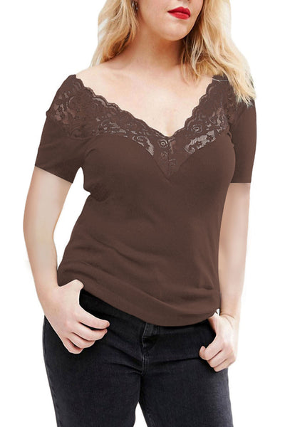 Chicloth Coffee Off Shoulder V Lace Neckline Spliced Short Sleeve Top