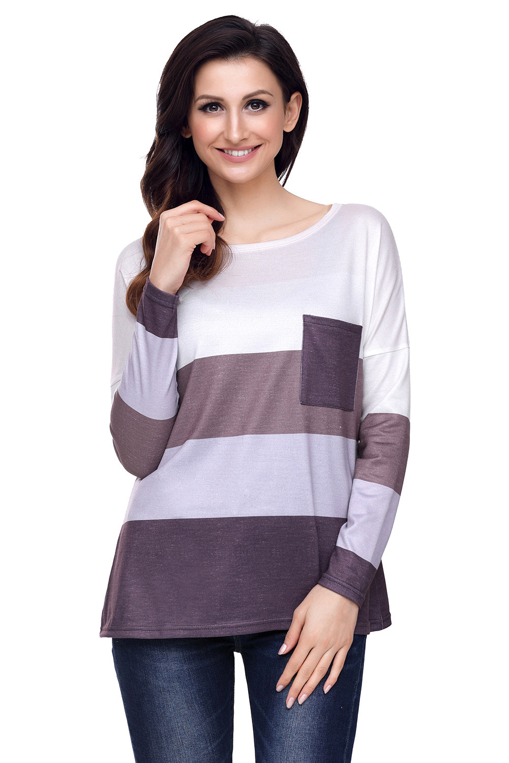 Chicloth Coffee Tan Colorblock Pocket Pullover Tunic Top