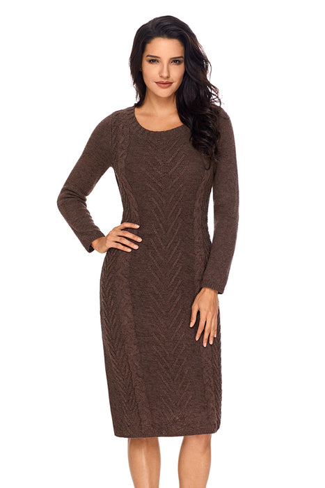 85e38c918d0c5 A| Chicloth Coffee Women¡¯S Hand Knitted Sweater Dress-Sweater Dresses-