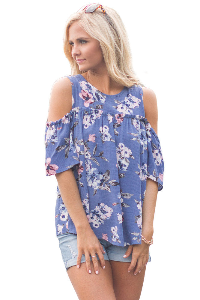 Chicloth Cold Shoulder Blue Floral Blouse-Blouse-Chicloth