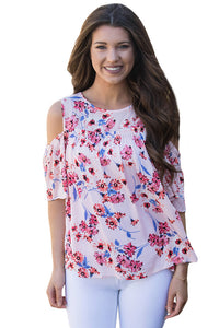 Chicloth Cold Shoulder Pink Floral Blouse