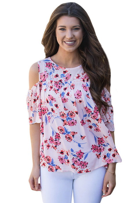 Chicloth Cold Shoulder Pink Floral Blouse-Blouse-Chicloth