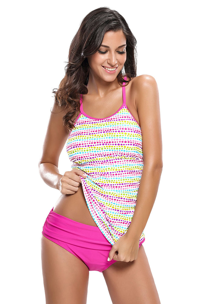 Chicloth Colorful Polka Dot Rosy 2pcs Tankini Swimsuit-Tankinis-Chicloth