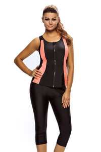 Chicloth Contrast Orange Accent Black Zipped Women Wetsuit