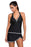 A| Chicloth Contrast White Trim Black Halter Tankini Skort Swimsuit-Tankinis-Chicloth