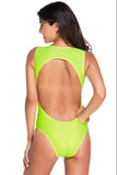 Chicloth Cool Summer Mansion Neon Green One piece Swimwear