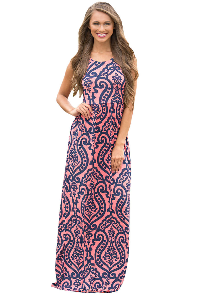Chicloth Coral Contrast Damask Print Sleeveless Long Dress-Boho Dresses-Chicloth