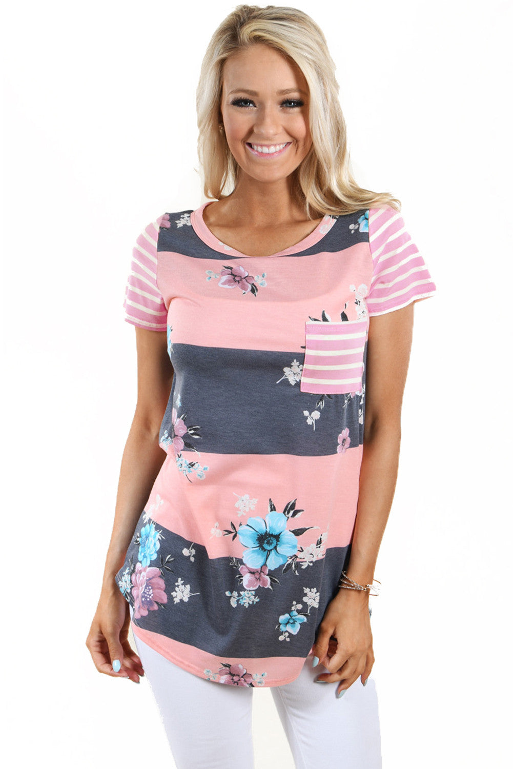 Chicloth Coral Grey Colorblock Floral Striped Casual T-shirt