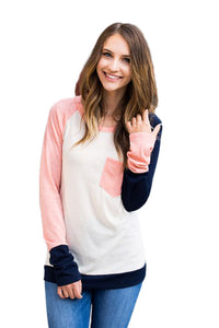 Chicloth Coral Navy Splice White Long Sleeve Top