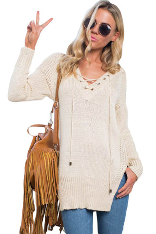 Chicloth Cream White Casual Loose Fit Side Split  Sweater