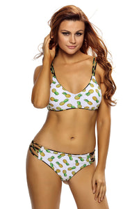 Chicloth Crisscross Straps Pineapple Print Reversible 2pcs Swimsuit
