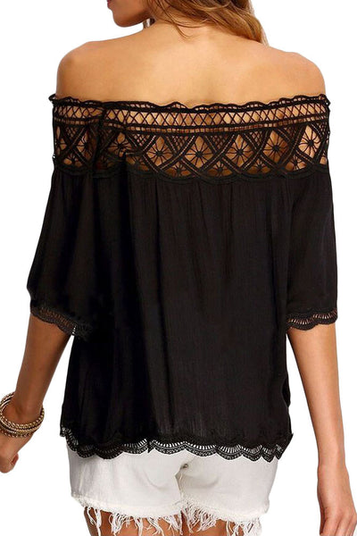 Chicloth Crochet Lace Trim Black Off Shoulder Crepe Blouse