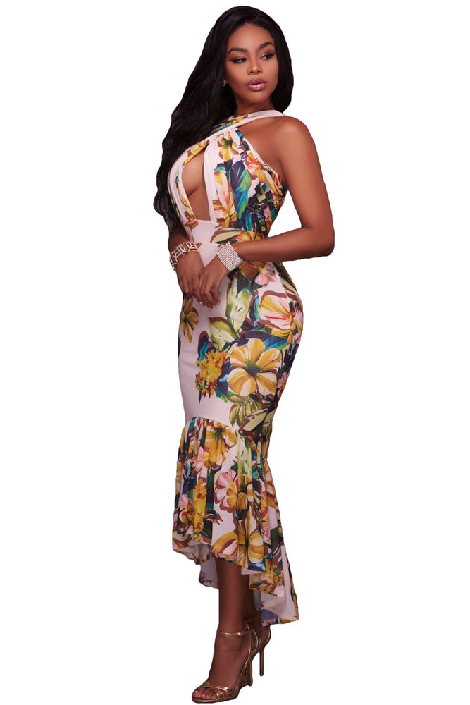 Chicloth Crossed Neck Keyhole Front Floral Mermaid Dress-Boho Dresses-Chicloth