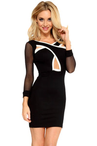 Chicloth Crossing Front Mesh Sleeves Bodycon Dress
