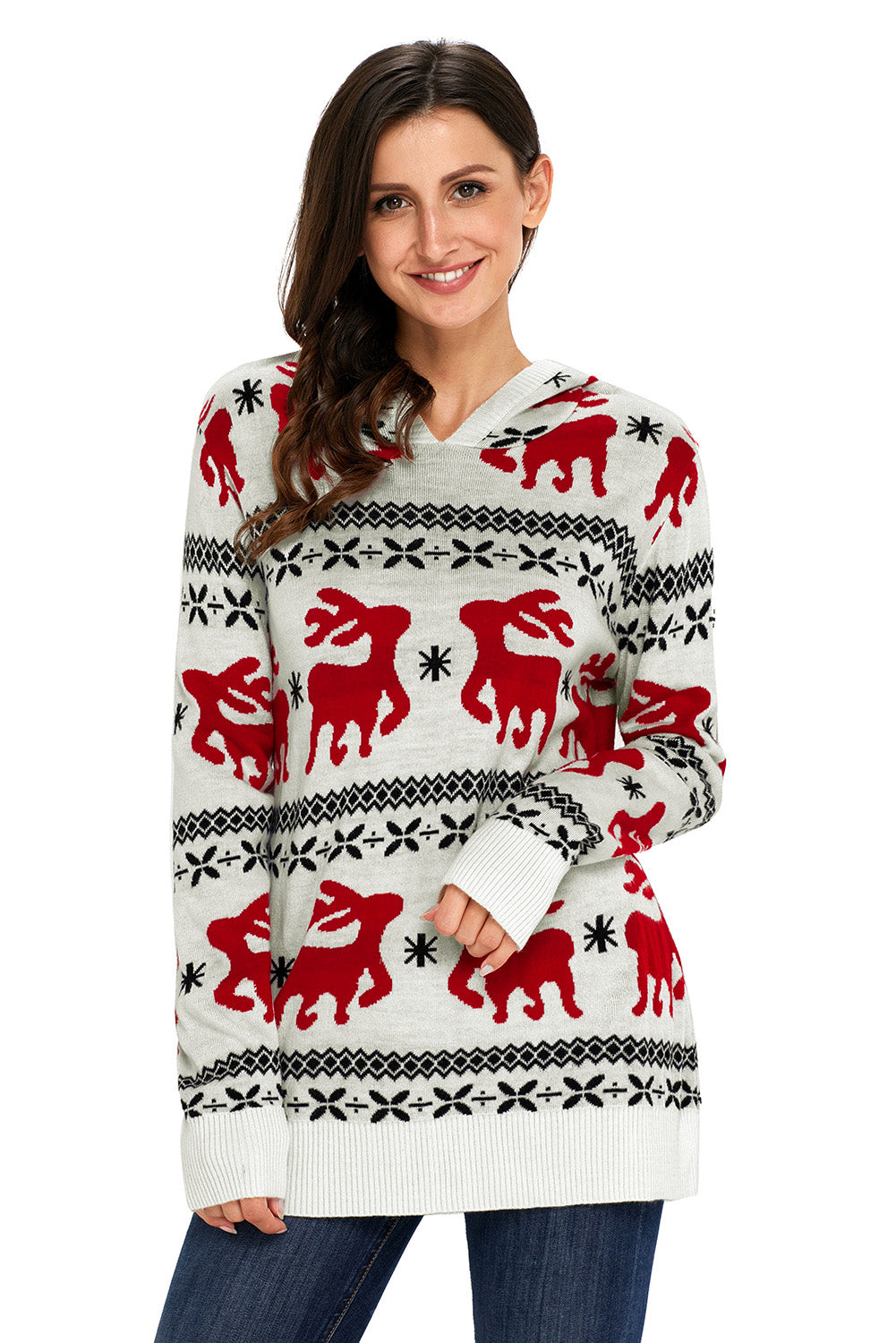 A| Chicloth Cute Christmas Reindeer Knit White Hooded Sweater-Sweaters-Chicloth