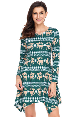 Chicloth Cute Christmas Reindeer Print Green Swingy Mini Dress