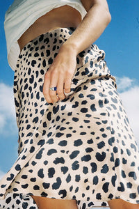A| Chicloth Leopard Print 3/4 Length Slip Style Skirt