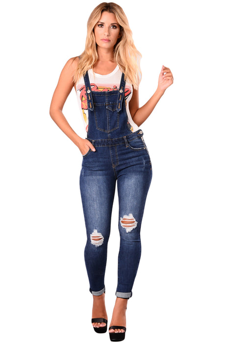 Z| Chicloth Dark Blue Denim Laidback Distressed Overalls-Chicloth