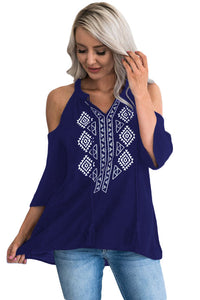 Chicloth Dark Blue Embroidery Detail Cold Shoulder Top
