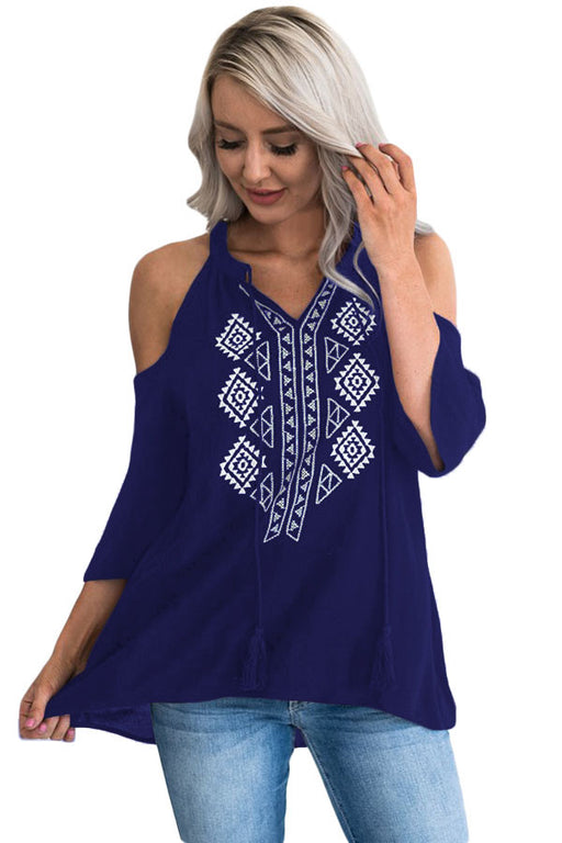 Chicloth Dark Blue Embroidery Detail Cold Shoulder Top-Women's Clothes||Blouses & Tops-Chicloth