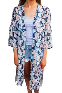 Chicloth Dark Blue Floral Side Slit Boho Kimono