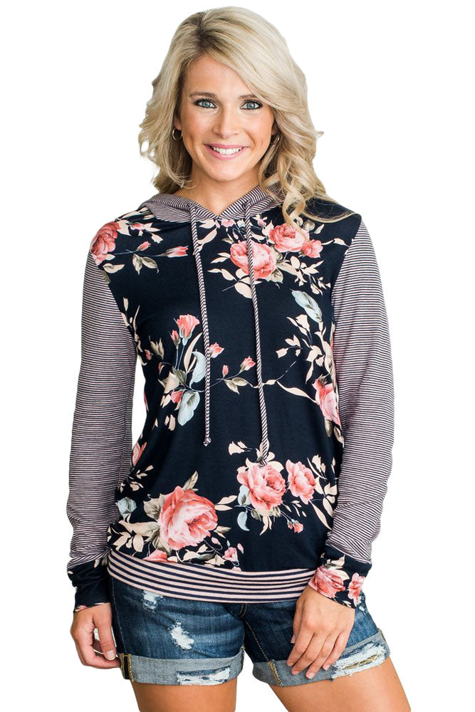 Chicloth Dark Blue Pinstripe Accent Floral Print Drawstring Hoodie-Women's Clothes||Sweatshirts & Hoodies-Chicloth