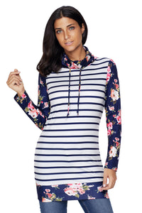 Chicloth Dark Blue Striped and Floral Sweatshirt