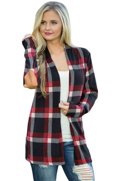 A| Chicloth Dark Blue Suede Elbow Patch Long Sleeve Plaid Cardigan-Sweaters-Chicloth