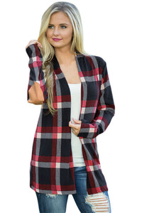 A| Chicloth Dark Blue Suede Elbow Patch Long Sleeve Plaid Cardigan