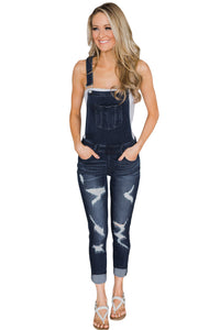 Z| Chicloth Dark Blue Wash Distressed Jeans Overalls