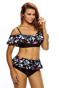 Chicloth Dark Floral Print Ruffle 2pcs Swimsuit