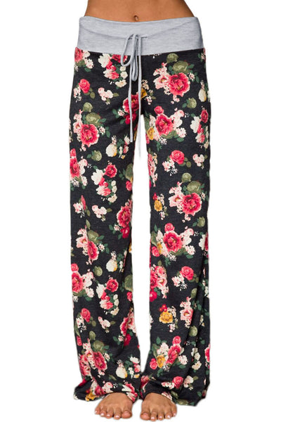 Chicloth Dark Floral Terry Wide Leg Pants