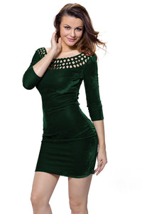 Chicloth Dark Green Hollow Out Round Neck Sleeved Velvet Dress