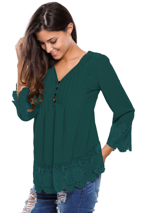 Chicloth Dark Green Lace Detail Button Up Sleeved Blouse-Blouse-Chicloth