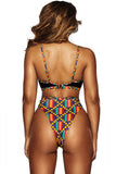 Chicloth Dark African Print Cut out High Waist Swimsuit