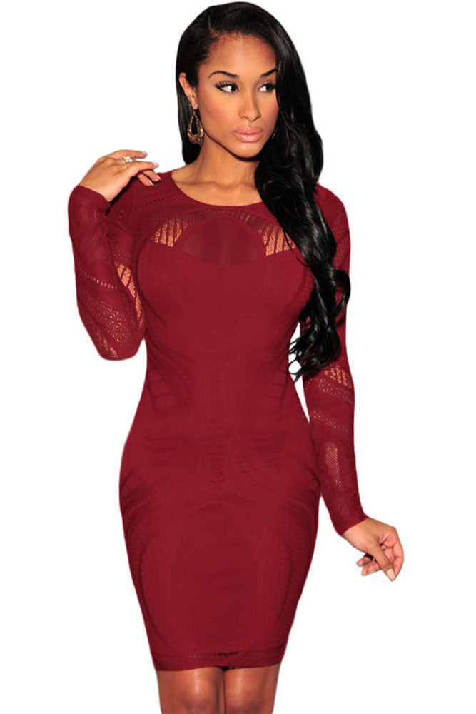 Chicloth Date Red Lace Nude Illusion Long Sleeves Bodycon Dress-Chicloth