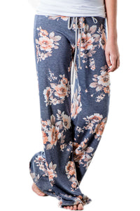 Chicloth Deep Grey Floral Terry Wide Leg Pants