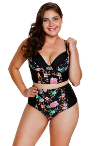A| Chicloth Delicate Floral Push Up High Waist Bikini Swimsuit-Bikinis-Chicloth