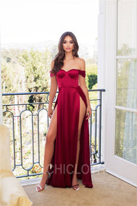 AA| Chicloth Off the Shoulder Side Slit Mermaid Burgundy Long Prom Dresses