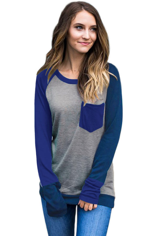 Chicloth Double Blue Splice Gray Long Sleeve Top