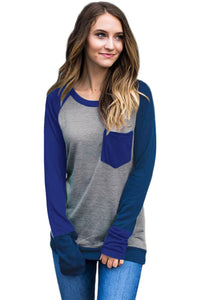 Chicloth Double Blue Splice Gray Long Sleeve Top-Women's Clothes||Blouses & Tops-Chicloth